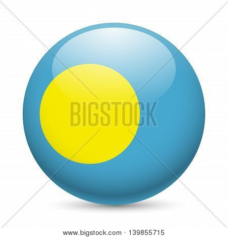 Flag of Palau as round glossy icon. Button with Palauan flag