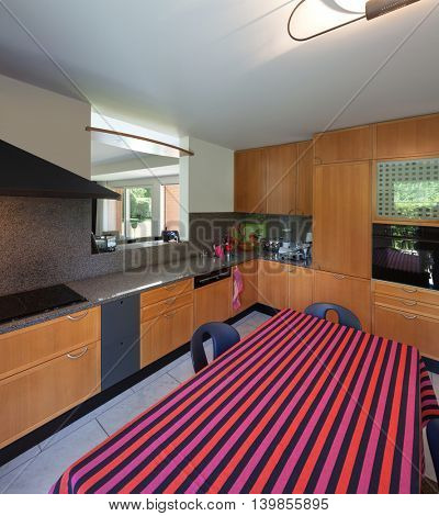 Modern house, domestic kitchen with wooden cabinets