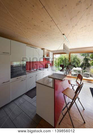 Interior of an eco house, modern kitchen