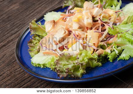 healthy food, Fresh healthy salad on wooden table