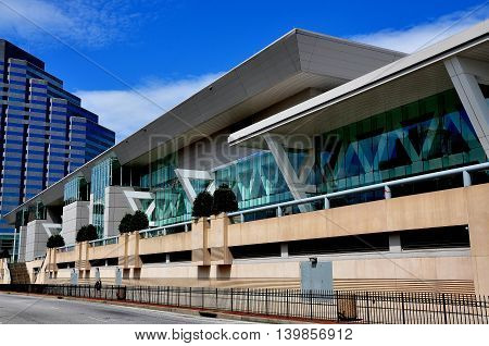 Baltimore Maryland - July 22 2013: The Baltimore Convention Center on Pratt Street