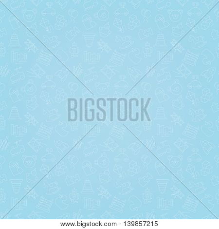 Toys blue seamless background pattern