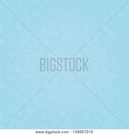Toys blue seamless background pattern