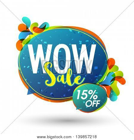 Wow Sale, Poster, Banner, Flyer, Flat Discount Upto 15% Off, Vector illustration with colorful abstract design.