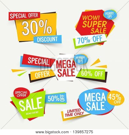 Set of creative Sale Tags, Banners, Stickers, Label, Different Discount Offers, Vector Promotional design collection.