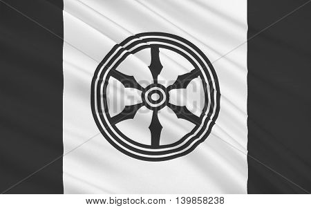 Flag of Osnabruck is a city in the federal state of Lower-Saxony in north-west Germany. 3d illustration