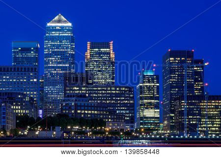 Canary Wharf In London In The Evening