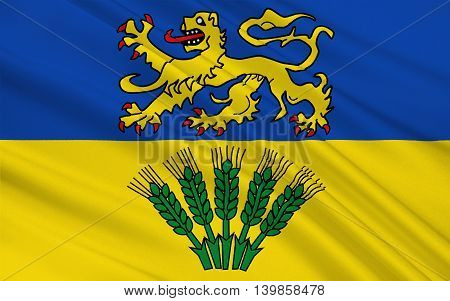 Flag of Wolfenbuttel is a district in southeastern Lower Saxony Germany. 3d illustration