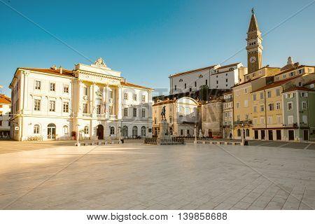 Tartini main square in Piran town at the morning in Slovenia