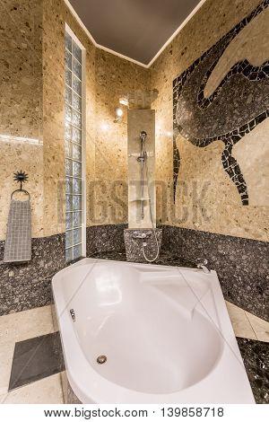 Marvellous Stone Bathroom Resembling Baths Of Far East