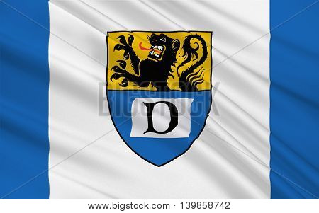 Flag of Duren is a district in the west of North Rhine-Westphalia Germany. 3d illustration