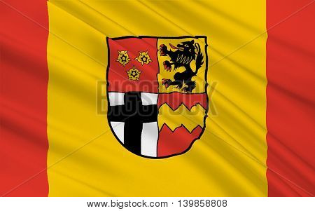 Flag of Euskirchen is a district in the south-west of North Rhine-Westphalia Germany. 3d illustration