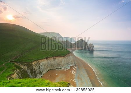 Beautiful beach on the Jurassic Coast of Dorset, UK