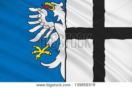 Flag of Meschede is a town in the Hochsauerland district in North Rhine-Westphalia Germany. 3d illustration