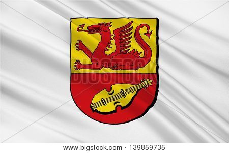 Flag of Alzey-Worms is a district in Rhineland-Palatinate Germany. 3d illustration