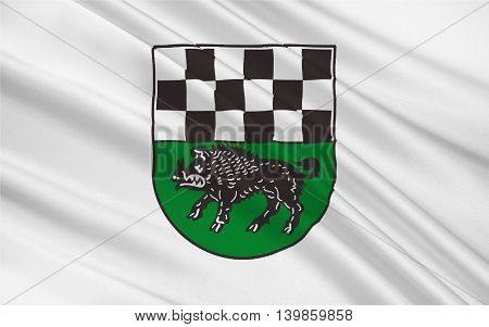 Flag of Kirchheimbolanden the capital of Donnersbergkreis is a town in Rhineland-Palatinate south-western Germany. 3d illustration