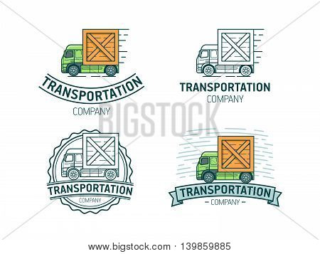 Set of transportation logo. Transport logotype with lorry. Vector illustration