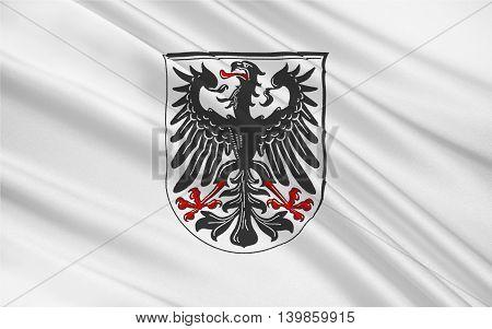 Flag of Ingelheim am Rhein is a town in the Mainz-Bingen district in Rhineland-Palatinate Germany. 3d illustration