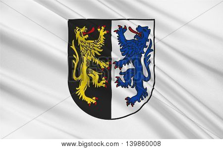 Flag of Kusel is a district (Kreis) in the south of Rhineland-Palatinate Germany. 3d illustration