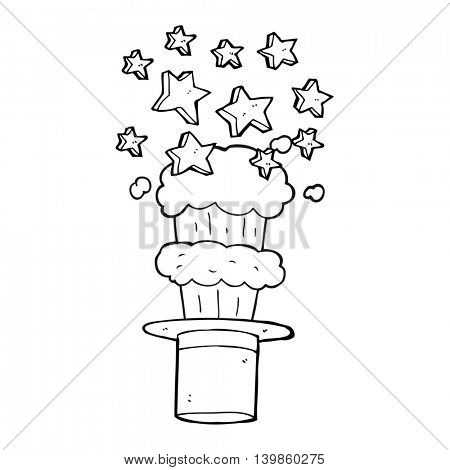 freehand drawn black and white cartoon magic top hat