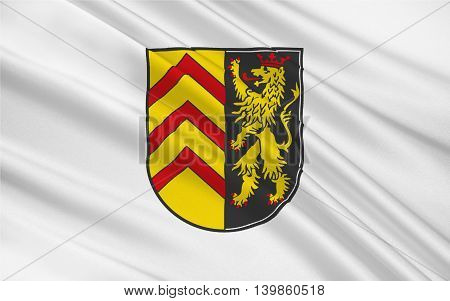 Flag of Sudwestpfalz is a district in the south of Rhineland-Palatinate Germany. 3d illustration