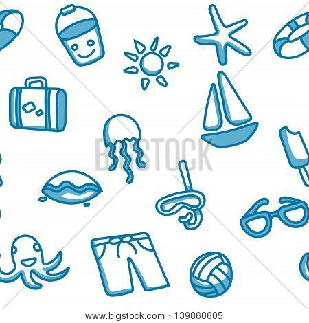 Seamless patten with beach elements on white background