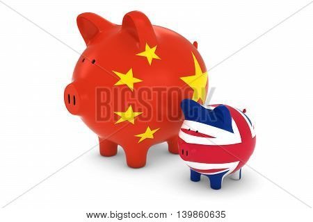 Chinese Flag And Uk Flag Piggybanks Exchange Rate Concept 3D Illustration