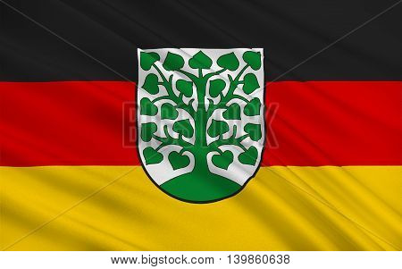 Flag of Homburg is a town in Saarland Germany. 3d illustration
