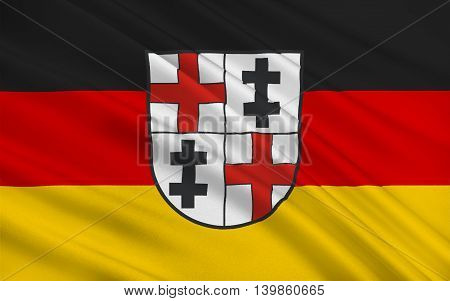 Flag of Merzig is the capital of the district Merzig-Wadern in Saarland Germany. 3d illustration