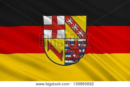 Flag of Merzig-Wadern is a Kreis (district) in the northwest of the Saarland Germany. 3d illustration