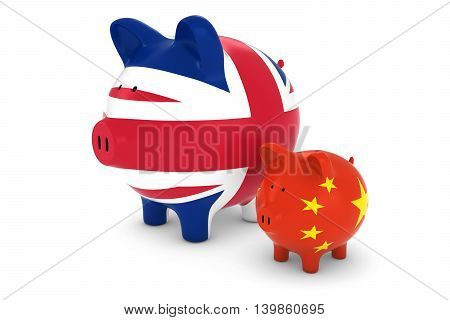 British Flag And Chinese Flag Piggybanks Exchange Rate Concept 3D Illustration