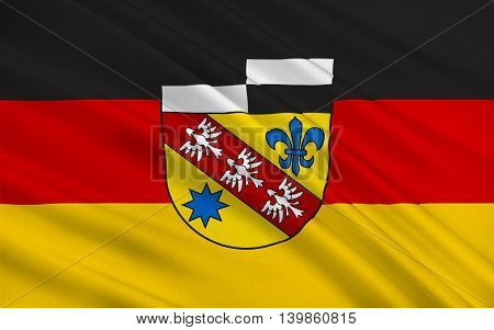 Flag of Saarlouis is a Kreis (district) in the middle of the Saarland Germany. 3d illustration