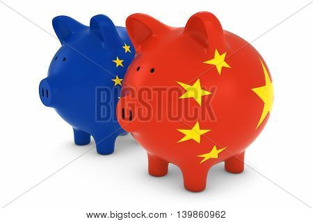 European And Chinese Flag Piggy Banks International Trade Concept 3D Illustration