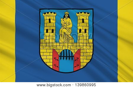 Flag of Burg bei Magdeburg is a town in Saxony-Anhalt Germany. 3d illustration
