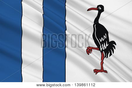 Flag of Jerichower Land is a district in the north-east of Saxony-Anhalt Germany. 3d illustration