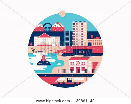 City with houses and a park. Town with building architecture, urban outdoor vector illustration