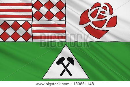 Flag of Mansfeld-Sudharz is a district in Saxony-Anhalt Germany. 3d illustration