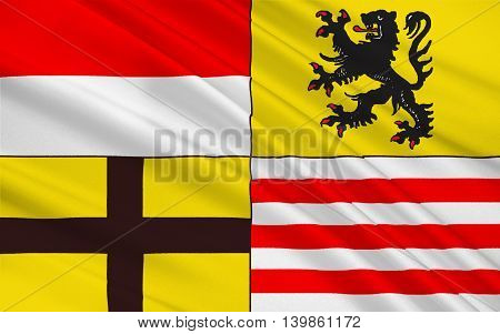 Flag of Saalekreis is a district in Saxony-Anhalt Germany. 3d illustration