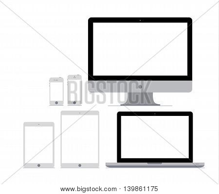 Six flat gadget mockups on white background