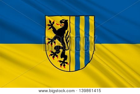 Flag of Leipzig is the largest city in the federal state of Saxony Germany. 3d illustration