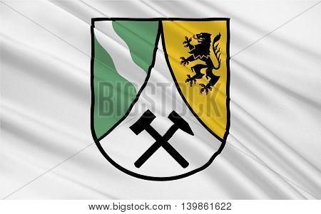 Flag of Saxon Switzerland-East Ore Mountains is a district in the Free State of Saxony Germany. 3d illustration