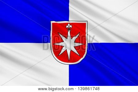 Flag of Norderstedt is a city in Schleswig-Holstein Germany. 3d illustration