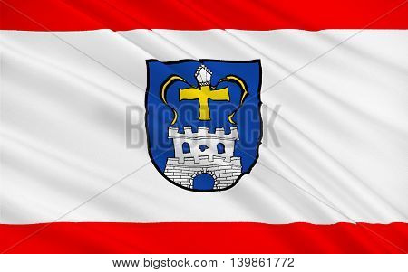 Flag of Ostholstein is a district in Schleswig-Holstein Germany. 3d illustration