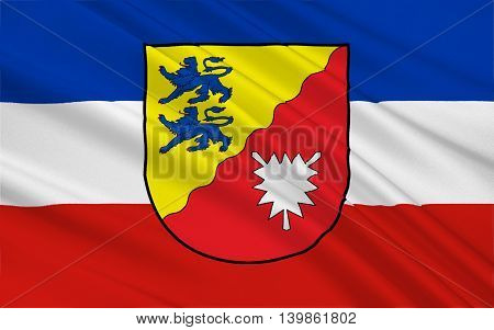 Flag of Rendsburg-Eckernforde is a district in Schleswig-Holstein Germany. 3d illustration