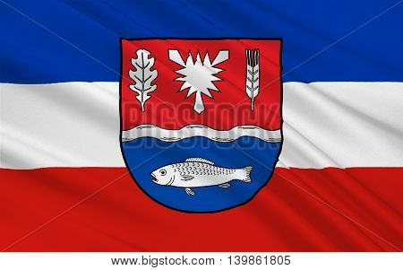 Flag of Plon is a district in Schleswig-Holstein Germany. 3d illustration