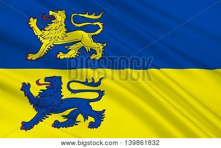 Flag of Schleswig-Flensburg is a district in Schleswig-Holstein Germany. 3d illustration