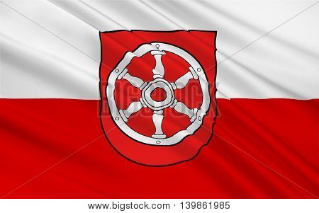Flag of Erfurt is the capital city of Thuringia Germany. 3d illustration