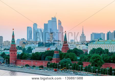 Stunning view of Kremlin in the winter during sunset, Moscow, Russia