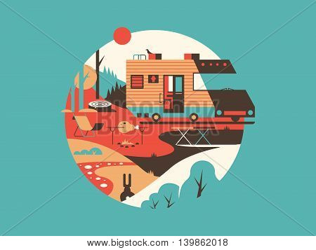 Trailer machine house. Transport travel for vacation, home on wheel, vector illustration