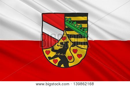 Flag of Saale-Holzland is a Kreis (district) in the east of Thuringia Germany. 3d illustration